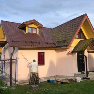 Фасадные работы- нанесение декоративной штукатурки на фасад в пос. Вороновское