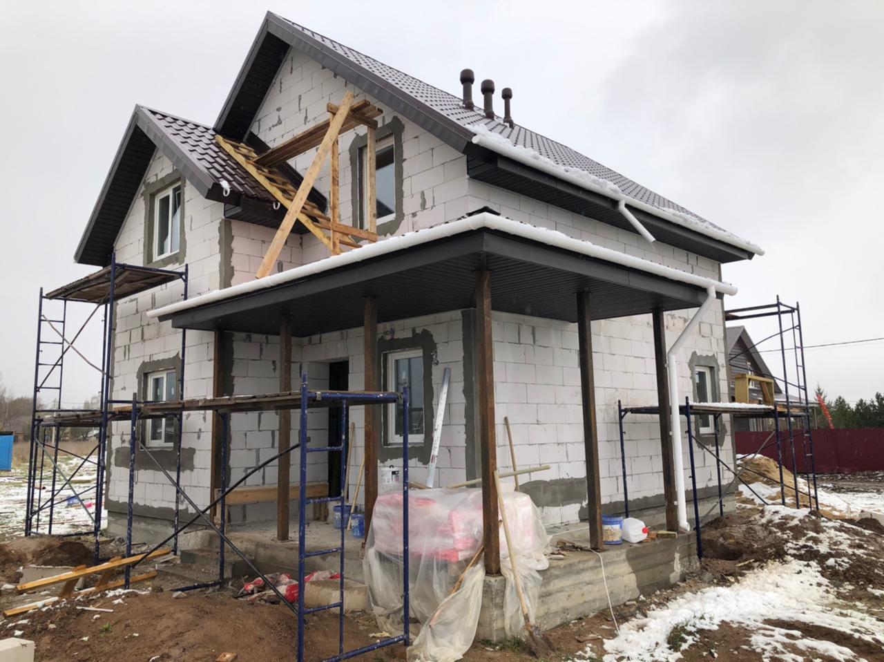 Начало фасадных работ Чеховский район деревня Антропово